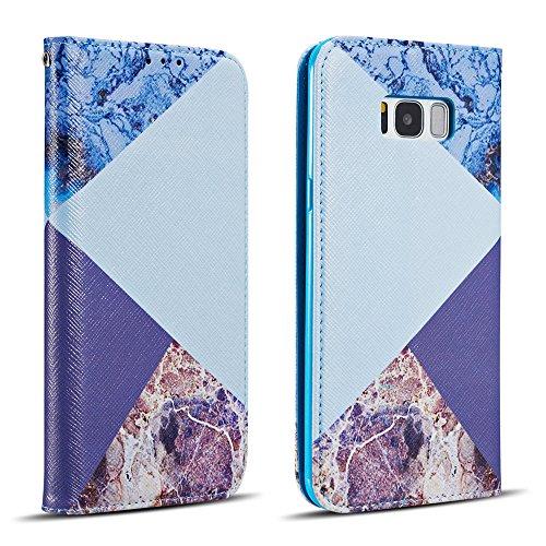 ZCDAYE Hülle für Samsung Galaxy S8,Luxus PU Leder Textur Muster [Magnetisch Adsorption] Lederhülle Handyhülle mit Karten-Slots Ständer Flip Brieftasche Schutzhülle - Blau