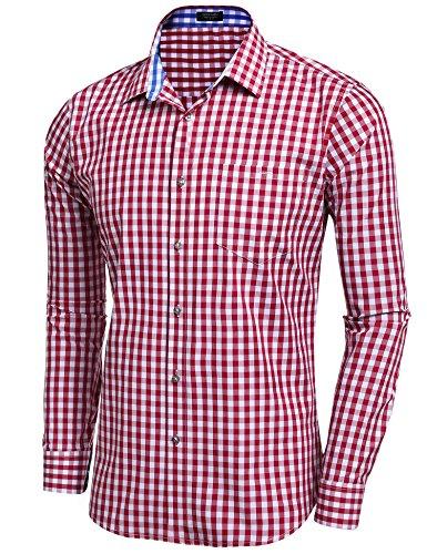 Coofandy Herren Hemd Kariert Cargohemd Trachtenhemd Baumwolle Freizeit Regular Fit Rot