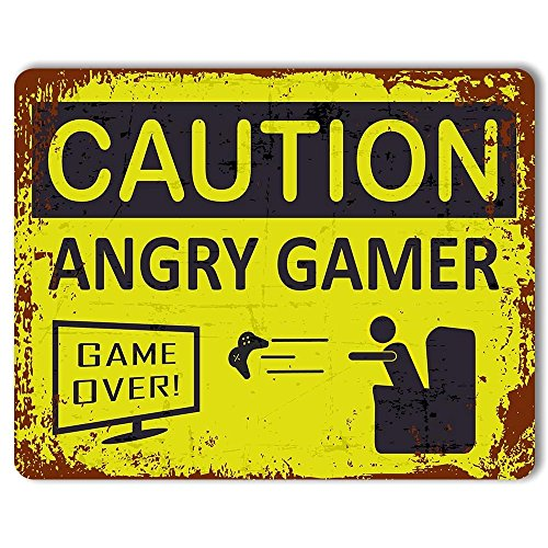 Caution: Angry Gamer - Vintage Rust Effect Metal Sign. Perfect gift for you know who!