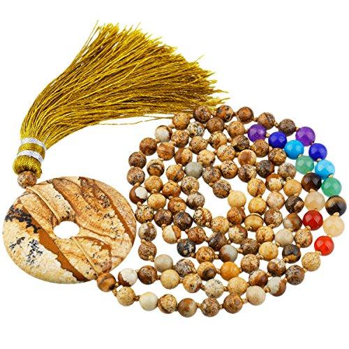 Shanxing 7 Chakra 108 Perlen Edelstein Mala Kette Buddhistische Tibetische Gebetskette Yoga Halskette für Damen und Herren