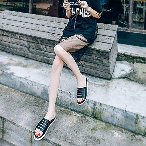 PENGFEI sandali delle donne Pantofole femminili Adatti a estate la personalità Estate Cavezza antiscivolo Sandali inferiori inferiori inferiori Confortevole e traspirante ( Colore : Blu , dimensioni : Nero