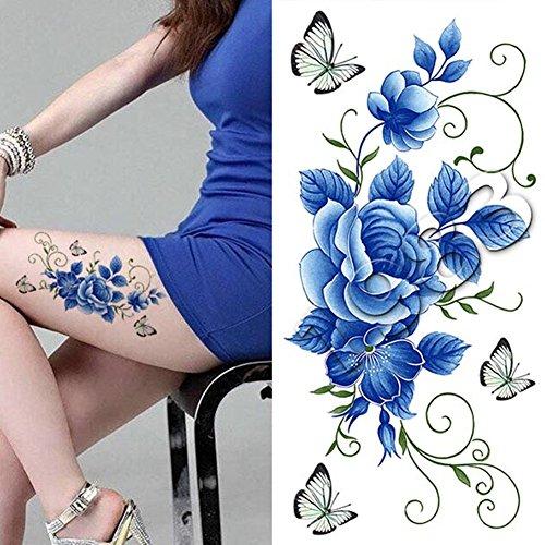 1 Pc Tatouages Ephémères Tattoos Temporaires Imperméables Fleur Papillon DIY Dessin K022