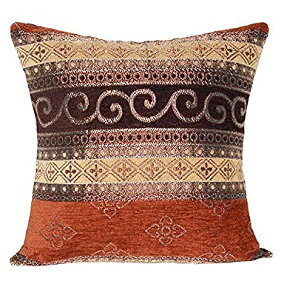 "Brown with Dull Gold Pattern Ethnic Traditional 16"" X 16"" Cushion Covers Pillow For Sofa Bed"