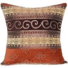 """Marrón con patrón oro embotado étnicos tradicional 16 """"X 16"""" amortiguador cubre almohada para sofá cama"""