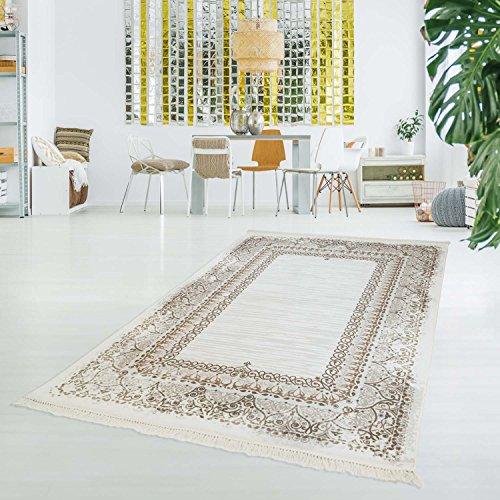 Traditionelle Ovale Teppich (myshop24h Druck-Teppich Flachflor Waschbar Vintage Klassisch Ornament Polyester Zeitlos Beige Creme, Größe in cm:150x230cm)