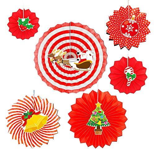 -teilig Hängend Papierfächer Fächer DIY Kostüm Weihnachtsfeier Fancy Xmas Santa Home Decorations(Rot-1,6 pcs) ()
