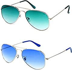 Y&S Combo Pack of UV Protected Aviator Unisex Sunglasses(YS-OC17_GrnGrdnt-SilverBlue)