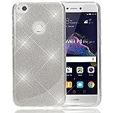 NALIA Handyhülle kompatibel mit Huawei P8 Lite 2017, Glitzer Slim Silikon-Case Back-Cover Schutzhülle, Glitter Sparkle Handy-Tasche Bumper, Dünne Bling Strass Smart-Phone Hülle, Farbe:Silber