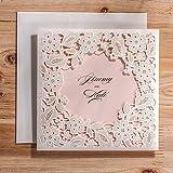 Ponatia,Hochzeitseinladungs-Karten, lasergeschnitten, mit geprägtem Blumenmuster, 25-teiliges Set weiß