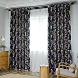 windsonmd Vollverdunkelungsvorhänge Schlafzimmer Wohnzimmer Schallschutzfenster Bucht tragbar und langlebig Mode vielseitige Mischung Gold 2,0 * 2,7 m-1,5 x 2,7 m Dunkelblau (B-Seite)