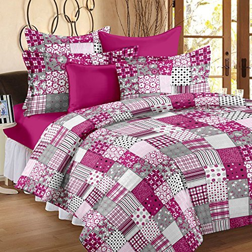 Story@Home Candy Cotton Double Bed with 2 Pillow Covers – Baby Pink