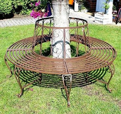 Rundbank aus Metall Bank 120749 Baumbank Sitzbank Gartenbank D-160cm H-84cm