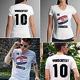Croatia | Kroatien | Männer oder Frauen Trikot T - Shirt mit Wunsch Nummer + Wunsch Name | WM 2018 T-Shirt