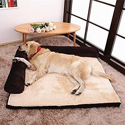AcornPets B12 Brown & Beige Memory Foam Pets Bed Sofa - inexpensive UK light shop.