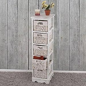 Serie vintage scaffale cassettiera con 5 ceste multiuso legno di paulonia 28x25x90cm ~ bianco by Mendler