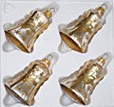4 TLG. Glas-Glocken Set in Ice Champagner Goldene Schleife - Christbaumkugeln - Weihnachtsschmuck-Christbaumschmuck
