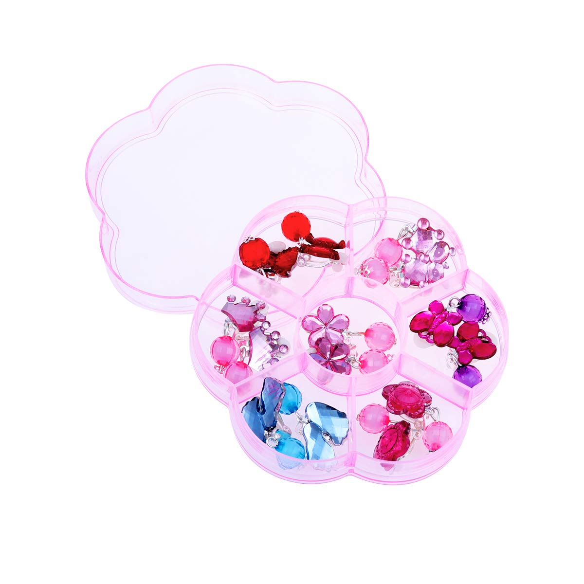 Toyvian 7 Pairs of Young Girls Earrings Box Set Clip-on Jewelry Kids Accessories Birthday Gift