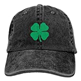 Lucky 4-Leaf Clover Unisex Denim Baseball Cap Adjustable Strap Low Profile Plain Hats Outdoor Casquette Snapback Hats Bl