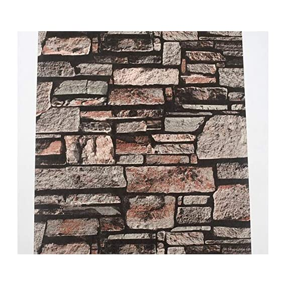 EUROTEX Stone Bricks Pattern Waterproof Wallpaper (Paper, Brown, 53x1000cm)