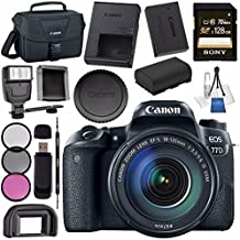 Canon EOS 77D DSLR Camera With 18-135mm USM Lens 1892C002 + Sony 128GB SDXC Card + LPE-17 Lithium Ion Battery + Universal Slave Flash Unit + Lens Cleaning Kit + Canon 100ES EOS Shoulder Bag Bundle - B071GHHFYP