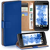 moex HTC Desire 626G | Hülle Blau mit Karten-Fach 360° Book Klapp-Hülle Handytasche Kunst-Leder Handyhülle für HTC Desire 626G/626 Case Flip Cover Schutzhülle Tasche