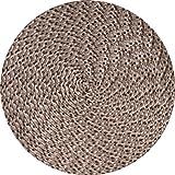 Tischset Platzmatte rund oder oval Natur meliert geflochten Mandala ca 45x30, Form:Rund
