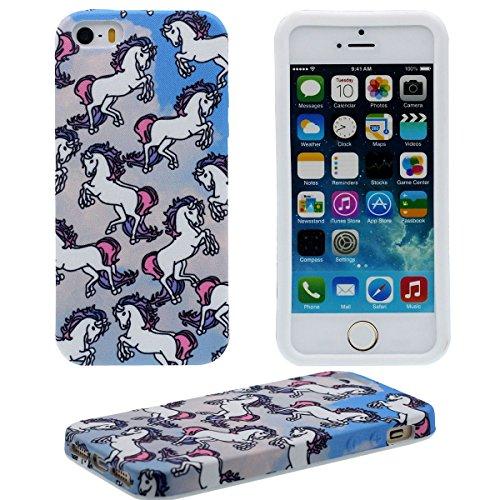 iPhone 5S Hülle Case Dünn und leicht, Tuch & Kunststoff Hybride Weich Muster Stil Hübsch Schutzhülle Handyhülle für Apple iPhone 5 5S SE 5G ( Schwarz ) - Don't Touch My Phone blau