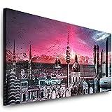 Julia-Art Leinwandbilder - 120 mal 50 cm Bild München Skyline, Stadt Wandbilder sind fertig gerahmt - verschiedene Motive - Kunstdrucke XXL Panorama Mn-01-3