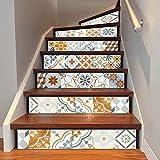 ZHANGQI Treppen Aufkleber Treppe-Aufkleber-Nordische Farbige Fliesen Kreativer Haupttreppen-Flur-Treppen-Dekor-Bodenbelag,100 * 18cm*6pcs