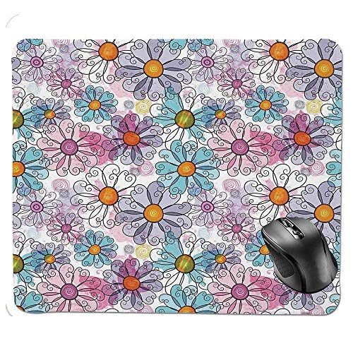 J5E7JYTE Mouse Pad,Retro Spring Floral Pattern Grunge Funky Style Inspired Colorful Daisies Bohemian Decor Print Mouse Pad -