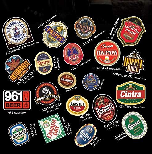 World Beer Aufkleber, 20 Stück, Wasser- und UV-Strahlenresistent, Aufkleber für Stoßstange, Laptop, Computer, Wasserflasche, Gepäck, Vinyl, Werkzeugkasten, Skateboard, Telefon -