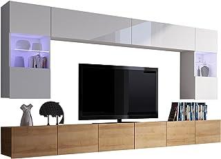 Moderne Wohnwand Calabrini I, Anbauwand, Mediawand, Hängevitrine, TV  Lowboard, Wandregal,