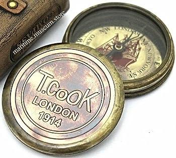 7,6Cm Steampunk T Cook Große Sammlerstück Messing Kompass Mit Leder Fall–Mit Robert Frost Gedicht Kompass. C-3016 0