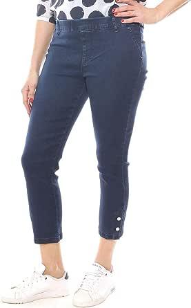 Emanuela Costa Jeans Skinny Cropped Donna in Denim con Elastico Taglia Morbida