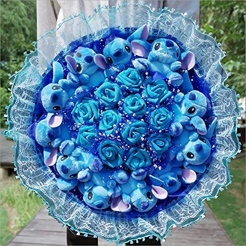 Cartoon Stitch Peluche Jouets, Lovely Stitch Bouquet avec Fleurs Artificielles, Décoration de Fête de Mariage Saint Valentin Bleu