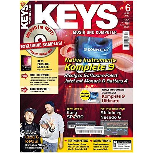 Keys 6 2013 mit DVD - Native Instruments Komplete 9 - Software auf DVD - Personal Samples - Free Loops - Audiobeispiele (Und Kompressor Gate)