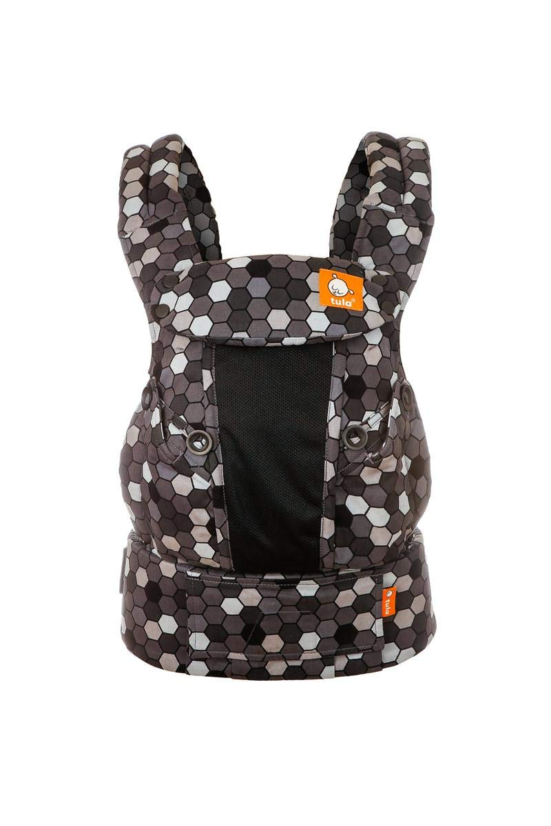 Tula Explore Baby Carrier Coast Buzz Tula Multiple porting positions, including front out. Baby carrier with an innovative main panel with an easy to adjust design in three width settings so that it can be used from 3.2 to 20.4 kg without the need for a baby cushion. The explore baby carrier has padded and adjustable neck support that can be used in multiple positions to provide head and neck support for newborn or sleeping babies 1