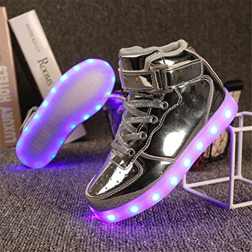 UBFen Unisex Kinder Erwachsene Schuhe 7 Farbe USB Aufladen LED Leuchtend Sportschuhe Stiefel Blinken High-top Sneakers Turnschuhe für Jungen Mädchen Herren Damen Silber
