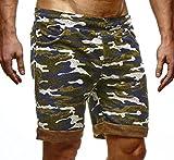 LEIF NELSON Herren Kurze Hose Shorts Sweatshorts LN6335; Größe XL, Camouflage
