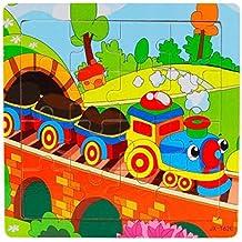 Koly® Niños de Madera 16 Piece Jigsaw Juguetes para la Educación Infantil y Aprendizaje Puzzles Juguetes (B)
