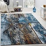 Designer Teppich Bunte Holz Optik Hoch Tief Optik In Türkis Gelb Grau Meliert, Grösse:80x150 cm