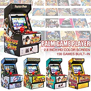 ckground Spielekonsole, 2,8-Zoll-Mini-Arcade-Spiel Retro-Maschinen für Kinder mit eingebauten 156 klassischen Handheld-Videospielen