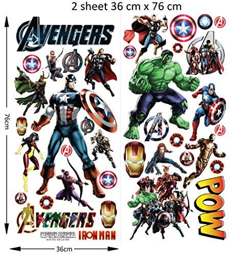 The Avengers personalisierte 3D Cartoon Wandaufkleber für Schlafzimmer Jungen und Mädchen Wandbild Aufkleber Größe: groß 76 cm x 72 cm (Essbare Gun)