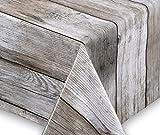 Wachstuch Tischdecke abwischbar rutschfest Meterware, glatt Holz beige, Größe wählbar (eckig 160 x 140 cm)
