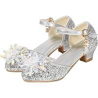 Holibanna Scarpe col Tacco Alto con Strass da Ragazza Argento Paillettes Scarpe con Cristalli Glitter Argento