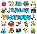 German Trendseller® - 36 x Tattoos Mix für Jungen ┃ - Kinder Tattoos - ┃ Kinder - Tattoo - Mix ┃ 36 - verschiedene Tattoos