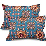Ahmedabad Cotton 2 Pcs Cotton Pillow Cover Set - Blue, Orange & Pink