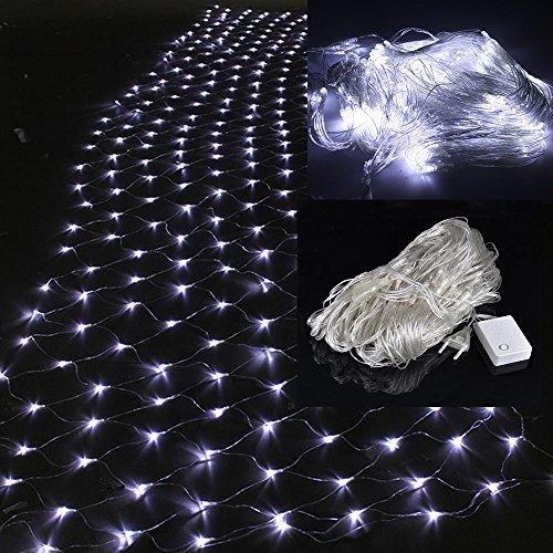 WYBAN 2 x 2M 144 LEDs Kaltweiß Lichterkette/Netzlicht Helles Netzlicht Außenbeleuchtung für Gartendekorationslichter/Park/Hochzeit /Partei / Innen und Außen Deko (2 x 2M- Kaltweiß)