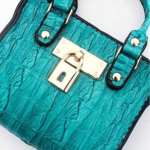 Sacchetto di immagazzinaggio della borsa chiave sacchetto della moneta della borsa della moneta della mini borsa di cuoio delle donne mini (modello del coccodrillo) Nero