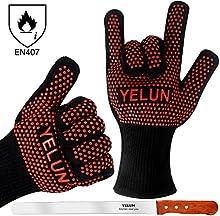 Guantes de horno-yelun EN407guantes de barbacoa resistente 932°F anti calor banda de silicona antideslizante para facilitar Grip-Barbacoa Grill guantes-una par